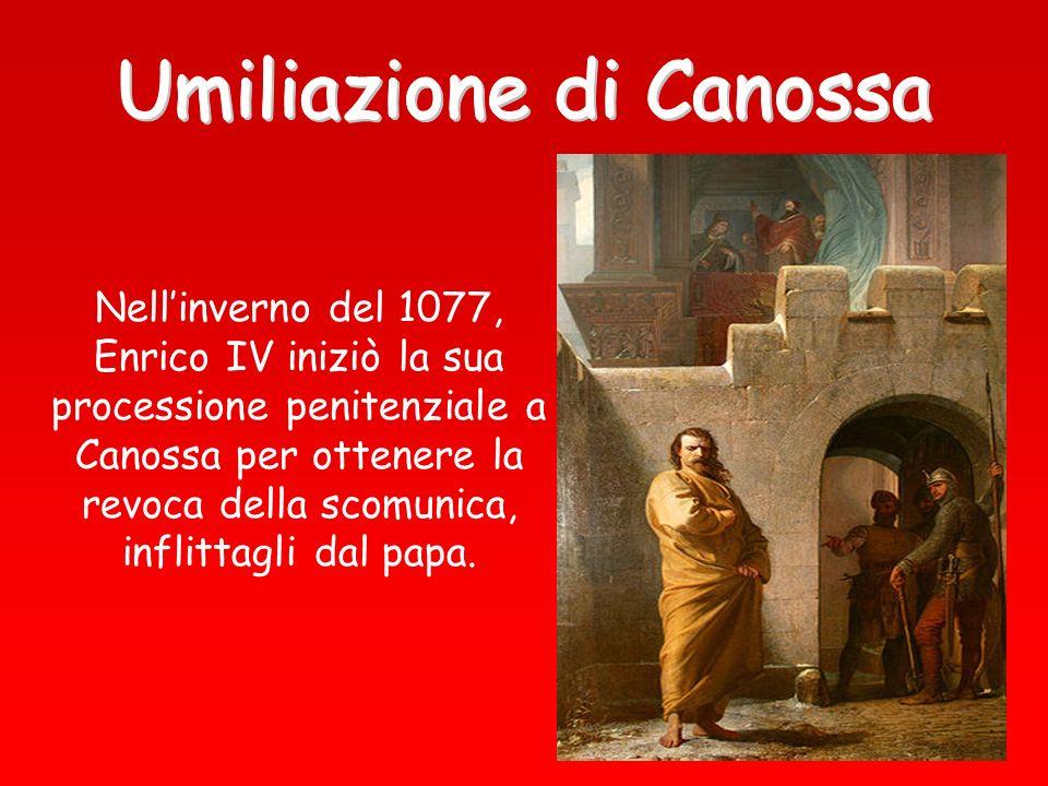 Nellinverno del 1077, Enrico IV iniziò la sua processione penitenziale a Canossa per ottenere la revoca della scomunica, inflittagli dal papa.