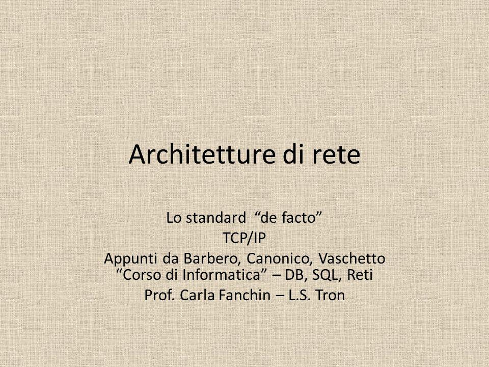 Architetture di rete Lo standard de facto TCP/IP Appunti da Barbero, Canonico, Vaschetto Corso di Informatica – DB, SQL, Reti Prof. Carla Fanchin – L.