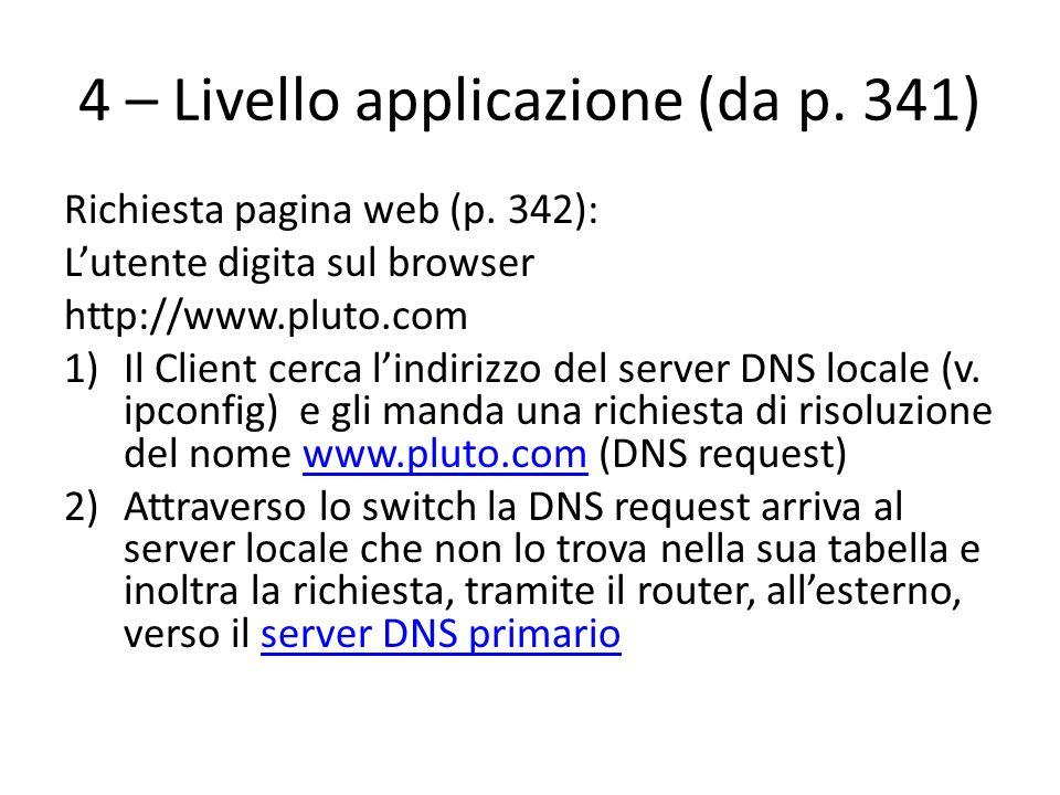 4 – Livello applicazione (da p. 341) Richiesta pagina web (p. 342): Lutente digita sul browser http://www.pluto.com 1)Il Client cerca lindirizzo del s