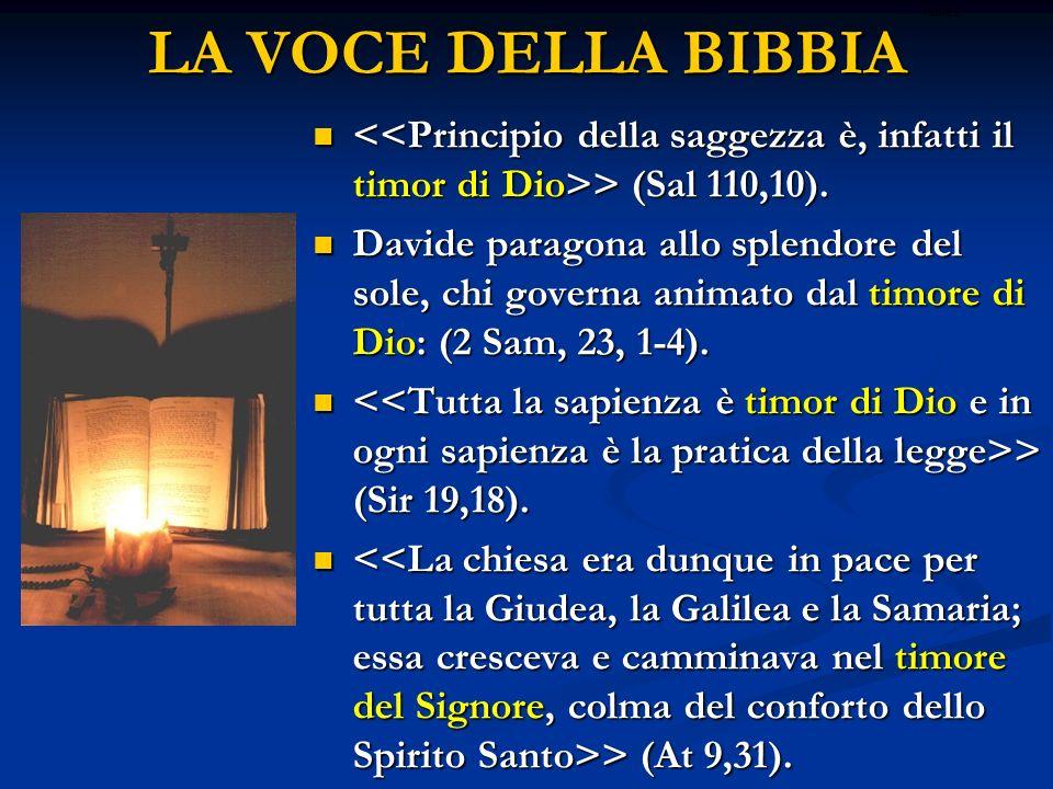 LA VOCE DELLA BIBBIA > (Sal 110,10). > (Sal 110,10). Davide paragona allo splendore del sole, chi governa animato dal timore di Dio: (2 Sam, 23, 1-4).