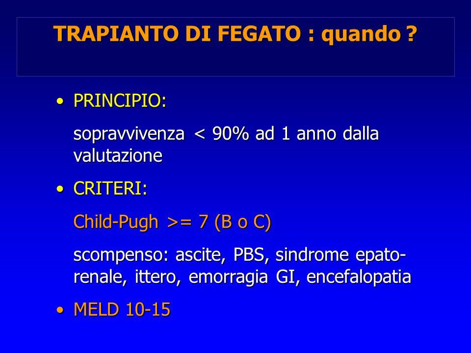 TRAPIANTO DI FEGATO : quando ? PRINCIPIO:PRINCIPIO: sopravvivenza < 90% ad 1 anno dalla valutazione CRITERI:CRITERI: Child-Pugh >= 7 (B o C) scompenso