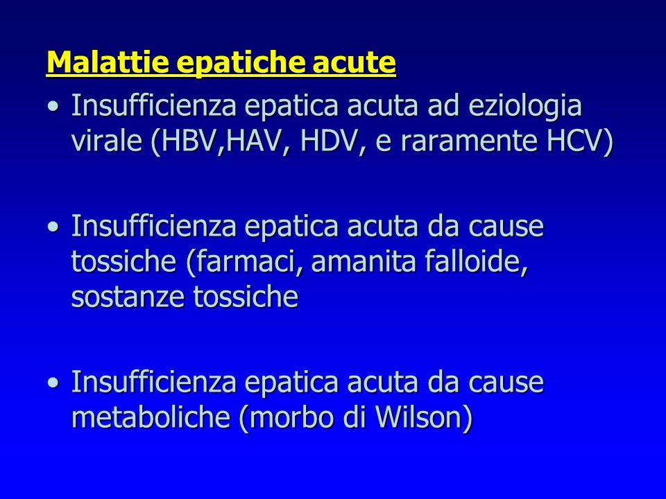 Malattie epatiche acute Insufficienza epatica acuta ad eziologia virale (HBV,HAV, HDV, e raramente HCV)Insufficienza epatica acuta ad eziologia virale