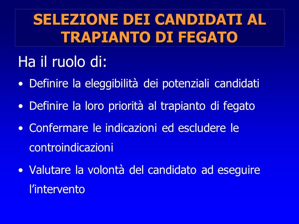 SELEZIONE DEI CANDIDATI AL TRAPIANTO DI FEGATO Ha il ruolo di: Definire la eleggibilità dei potenziali candidati Definire la loro priorità al trapiant