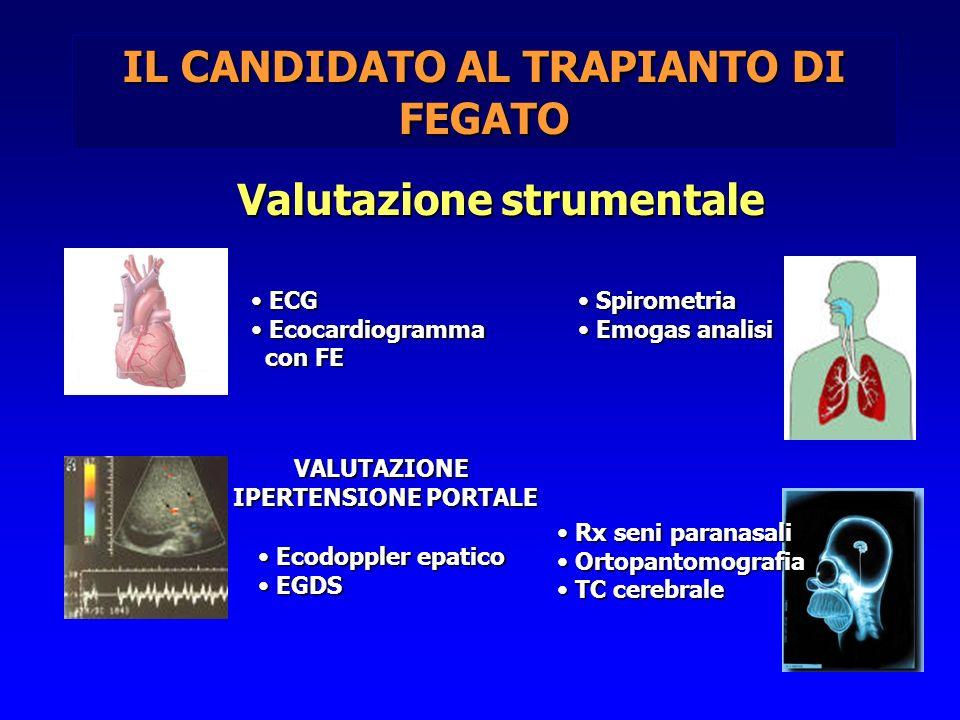 IL CANDIDATO AL TRAPIANTO DI FEGATO Valutazione strumentale ECG ECG Ecocardiogramma Ecocardiogramma con FE con FE Spirometria Spirometria Emogas anali
