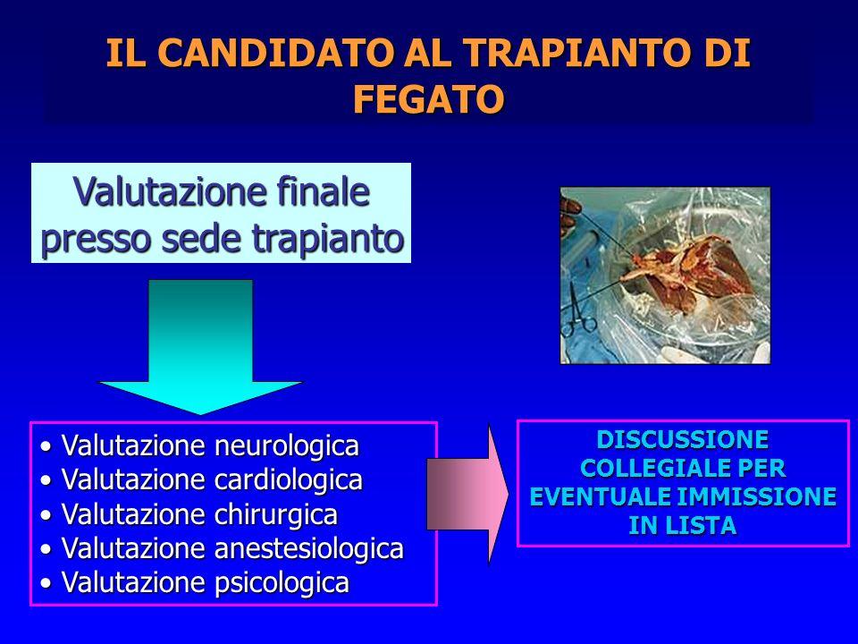 IL CANDIDATO AL TRAPIANTO DI FEGATO Valutazione finale presso sede trapianto Valutazione neurologica Valutazione neurologica Valutazione cardiologica