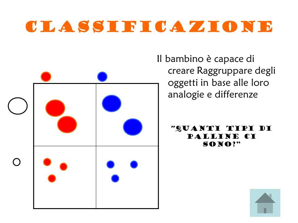 CLASSIFICAZIONE Il bambino è capace di creare Raggruppare degli oggetti in base alle loro analogie e differenze Quanti tipi di palline ci sono?