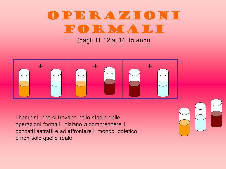 +++ OPERAZIONI FORMALI (dagli 11-12 ai 14-15 anni) I bambini, che si trovano nello stadio delle operazioni formali, iniziano a comprendere i concetti