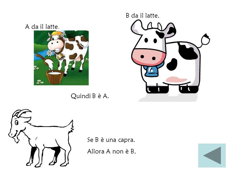 Quindi B è A. A da il latte. B da il latte. Se B è una capra. Allora A non è B.