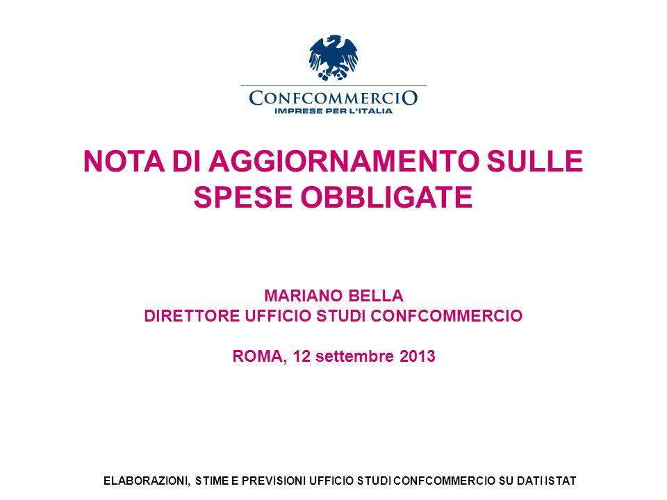Ufficio Studi NOTA DI AGGIORNAMENTO SULLE SPESE OBBLIGATE MARIANO BELLA DIRETTORE UFFICIO STUDI CONFCOMMERCIO ROMA, 12 settembre 2013 ELABORAZIONI, ST