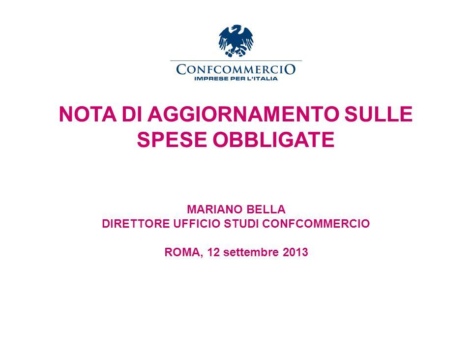 Ufficio Studi NOTA DI AGGIORNAMENTO SULLE SPESE OBBLIGATE MARIANO BELLA DIRETTORE UFFICIO STUDI CONFCOMMERCIO ROMA, 12 settembre 2013