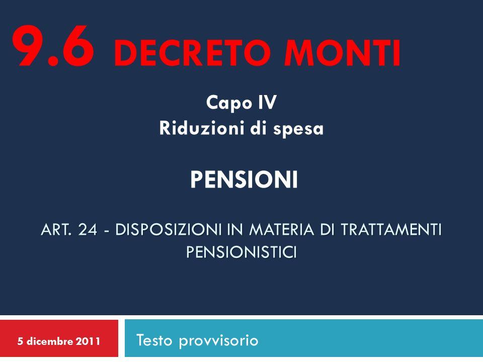 ART. 24 - DISPOSIZIONI IN MATERIA DI TRATTAMENTI PENSIONISTICI Capo IV Riduzioni di spesa PENSIONI ART. 24 - DISPOSIZIONI IN MATERIA DI TRATTAMENTI PE