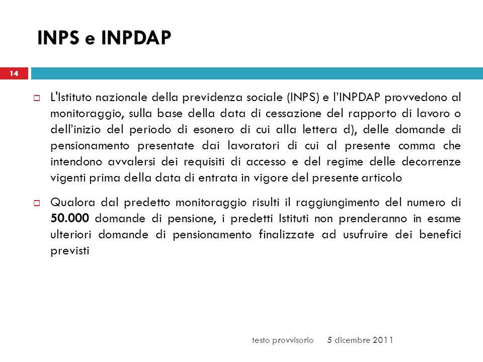 INPS e INPDAP L'Istituto nazionale della previdenza sociale (INPS) e lINPDAP provvedono al monitoraggio, sulla base della data di cessazione del rappo