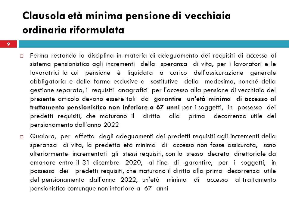 Clausola età minima pensione di vecchiaia ordinaria riformulata Ferma restando la disciplina in materia di adeguamento dei requisiti di accesso al sis