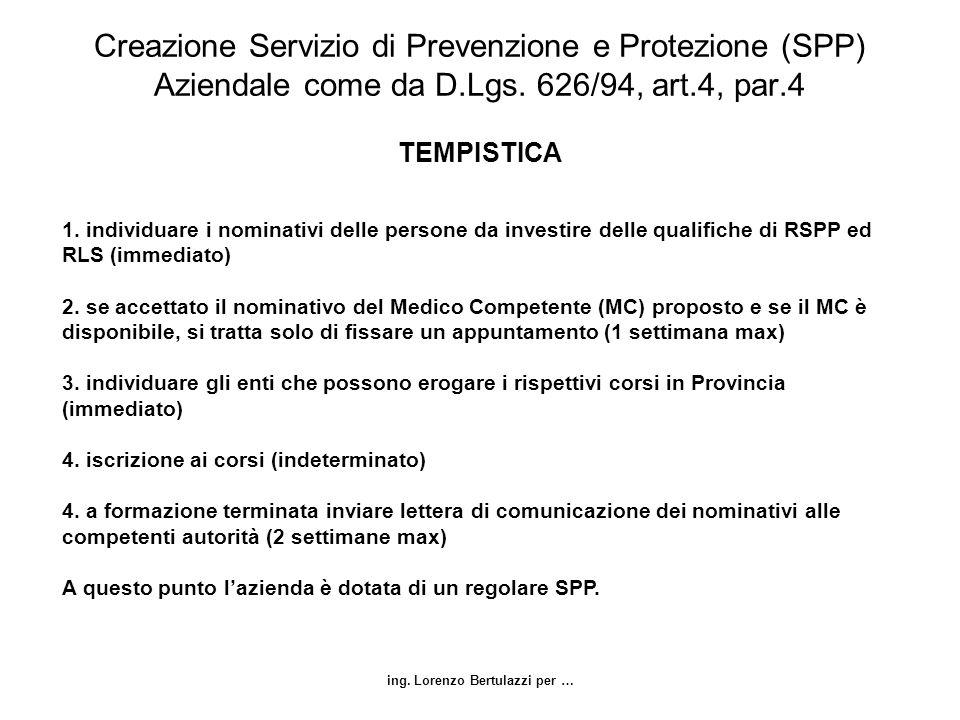 ing. Lorenzo Bertulazzi per … Creazione Servizio di Prevenzione e Protezione (SPP) Aziendale come da D.Lgs. 626/94, art.4, par.4 TEMPISTICA 1. individ