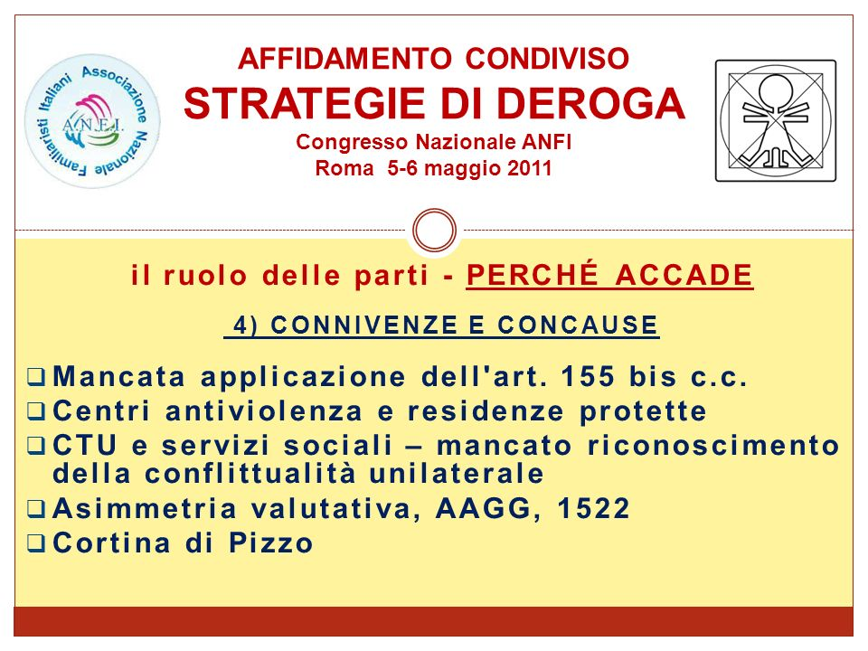 il ruolo delle parti - PERCHÉ ACCADE 4) CONNIVENZE E CONCAUSE Mancata applicazione dell'art. 155 bis c.c. Centri antiviolenza e residenze protette CTU
