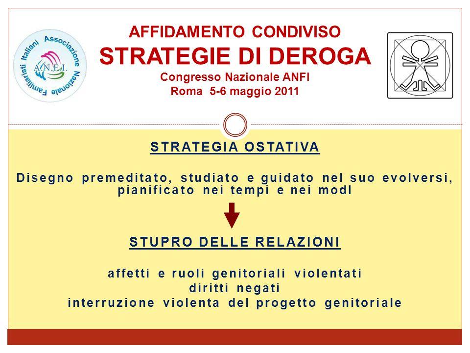 STRATEGIA OSTATIVA Disegno premeditato, studiato e guidato nel suo evolversi, pianificato nei tempi e nei modI STUPRO DELLE RELAZIONI affetti e ruoli