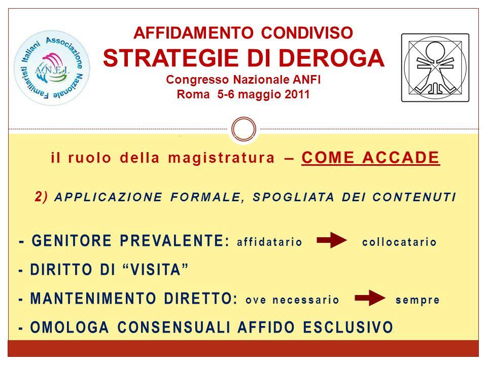 RIFORMA APPROVATA NEL FEBBRAIO 2006 AFFIDAMENTO CONDIVISO STRATEGIE DI DEROGA Congresso Nazionale ANFI Roma 5-6 maggio 2011