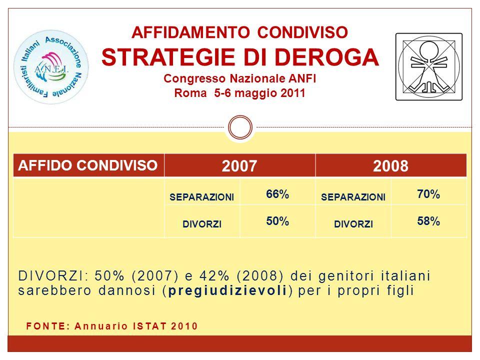 DIVORZI: 50% (2007) e 42% (2008) dei genitori italiani sarebbero dannosi (pregiudizievoli) per i propri figli FONTE: Annuario ISTAT 2010 AFFIDAMENTO C