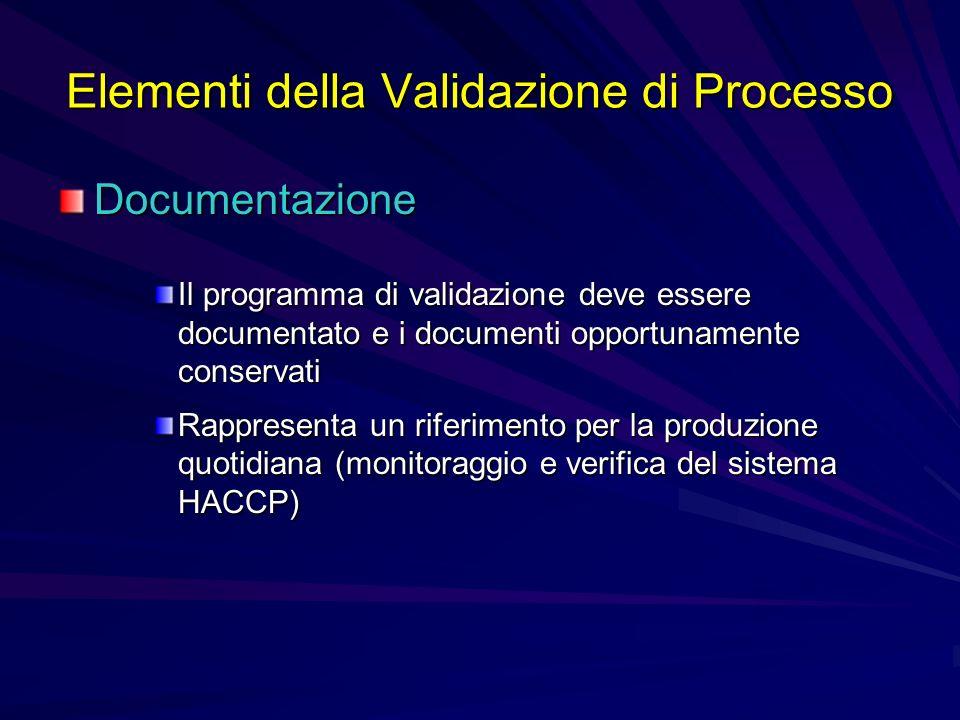 Elementi della Validazione di Processo Documentazione Il programma di validazione deve essere documentato e i documenti opportunamente conservati Rapp