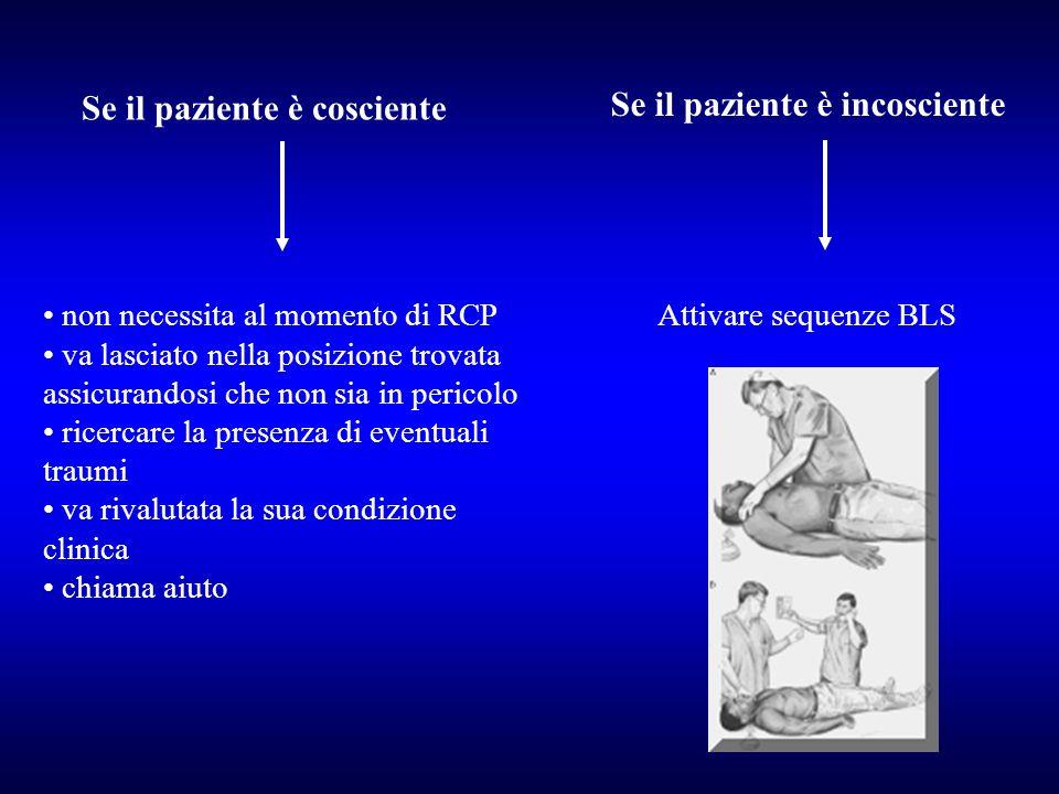Se il paziente è cosciente non necessita al momento di RCP va lasciato nella posizione trovata assicurandosi che non sia in pericolo ricercare la pres