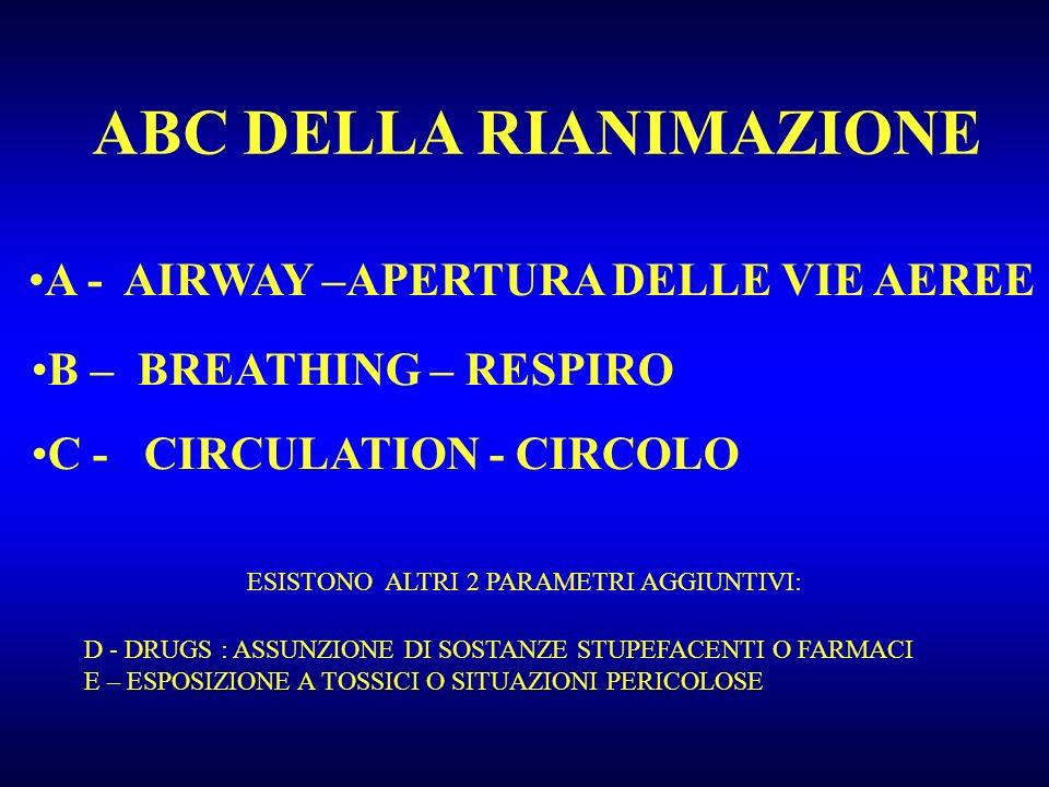ABC DELLA RIANIMAZIONE A - AIRWAY –APERTURA DELLE VIE AEREE B – BREATHING – RESPIRO C - CIRCULATION - CIRCOLO ESISTONO ALTRI 2 PARAMETRI AGGIUNTIVI: D