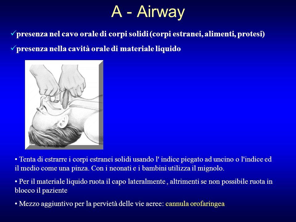 A - Airway presenza nel cavo orale di corpi solidi (corpi estranei, alimenti, protesi) presenza nella cavità orale di materiale liquido Tenta di estra