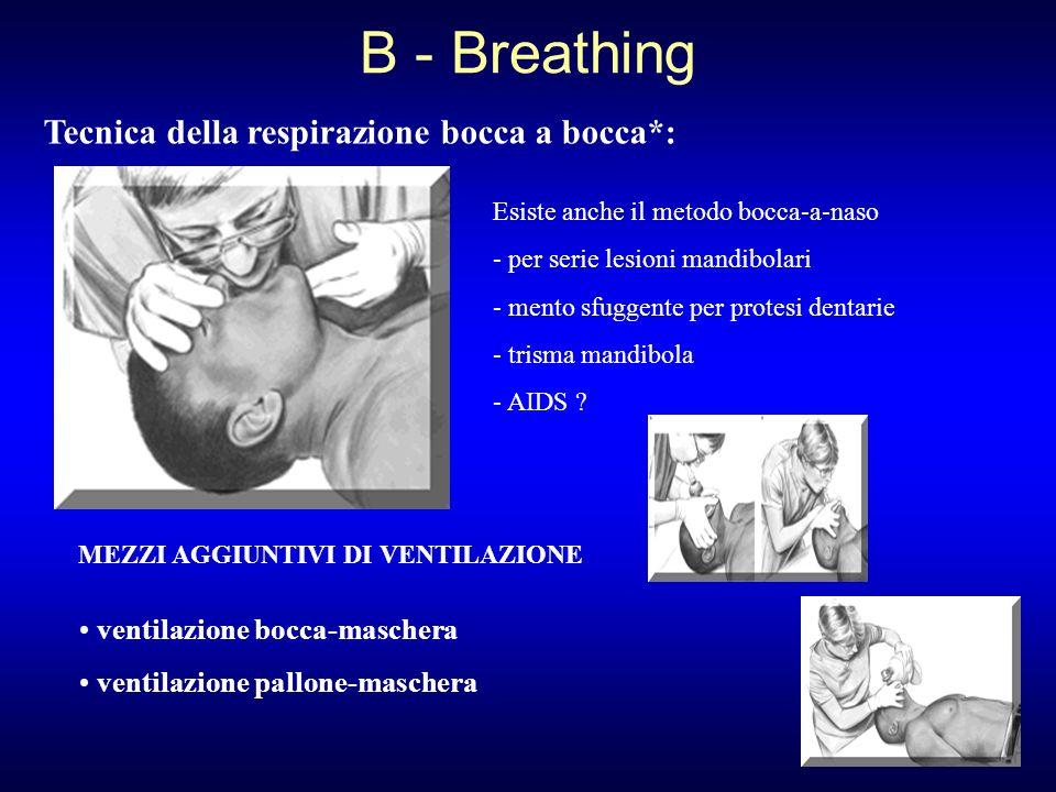 Tecnica della respirazione bocca a bocca*: Esiste anche il metodo bocca-a-naso - per serie lesioni mandibolari - mento sfuggente per protesi dentarie
