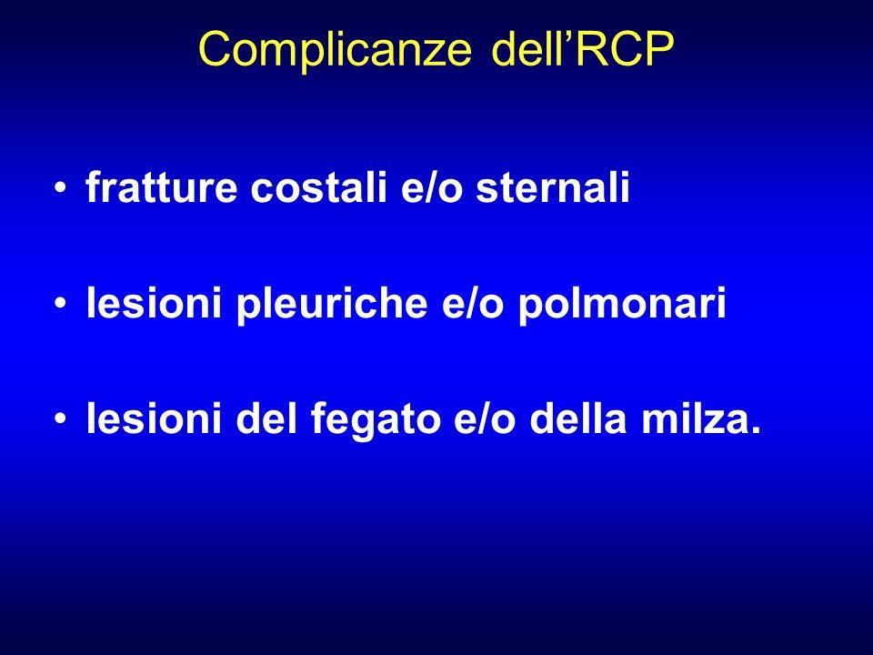 Complicanze dellRCP fratture costali e/o sternali lesioni pleuriche e/o polmonari lesioni del fegato e/o della milza.