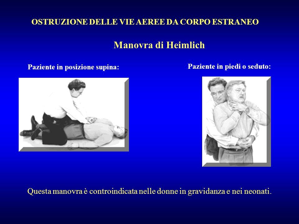 OSTRUZIONE DELLE VIE AEREE DA CORPO ESTRANEO Manovra di Heimlich Paziente in posizione supina: Paziente in piedi o seduto: Questa manovra è controindi