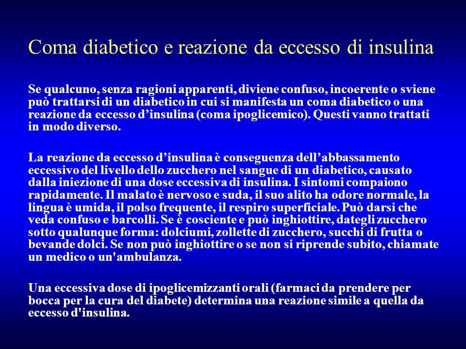 Coma diabetico e reazione da eccesso di insulina Se qualcuno, senza ragioni apparenti, diviene confuso, incoerente o sviene può trattarsi di un diabet
