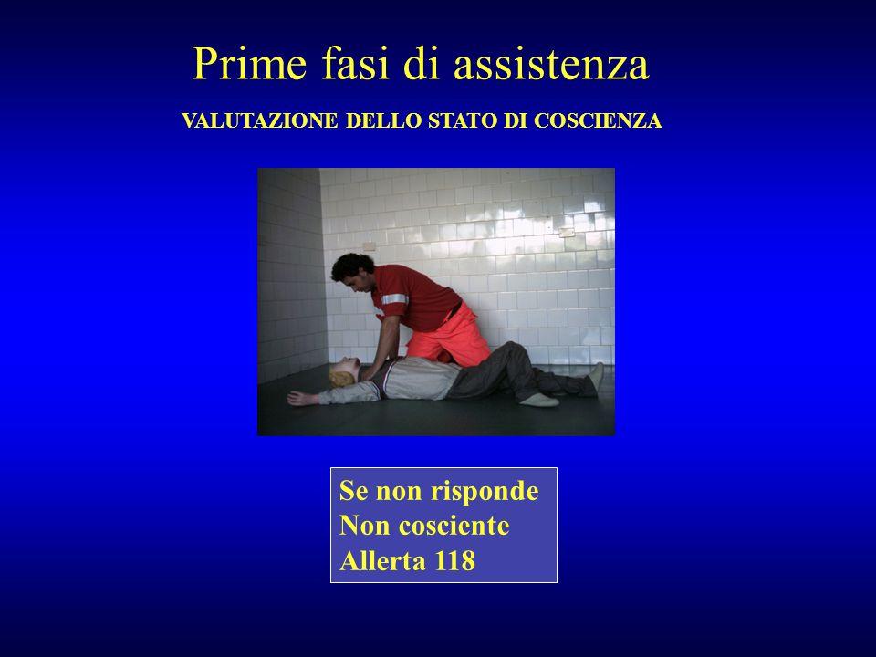 Prime fasi di assistenza VALUTAZIONE DELLO STATO DI COSCIENZA Se non risponde Non cosciente Allerta 118