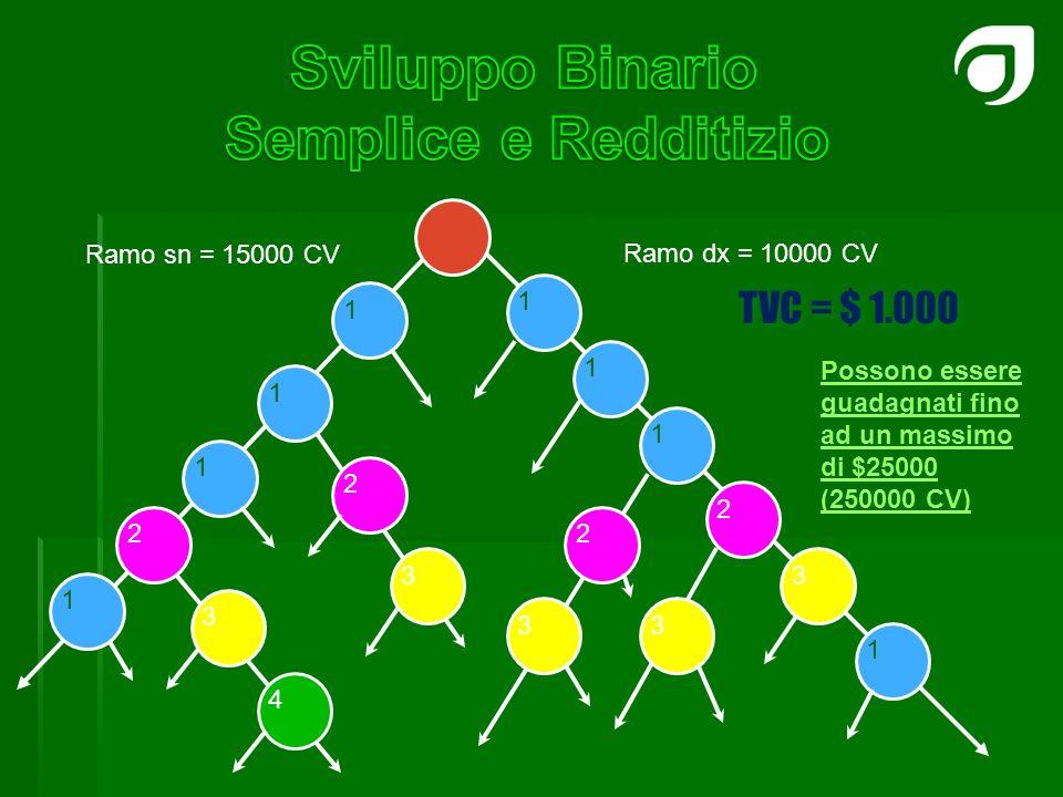 1 1 1 2 1 1 1 2 1 3 2 3 2 3 3 Ramo dx = 10000 CV TVC = $ 1.000 Ramo sn = 15000 CV Possono essere guadagnati fino ad un massimo di $25000 (250000 CV) 3