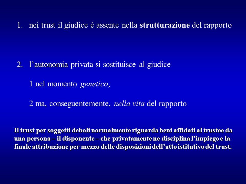 1.nei trust il giudice è assente nella strutturazione del rapporto 2.lautonomia 2.lautonomia privata si sostituisce al giudice 1 nel momento genetico,