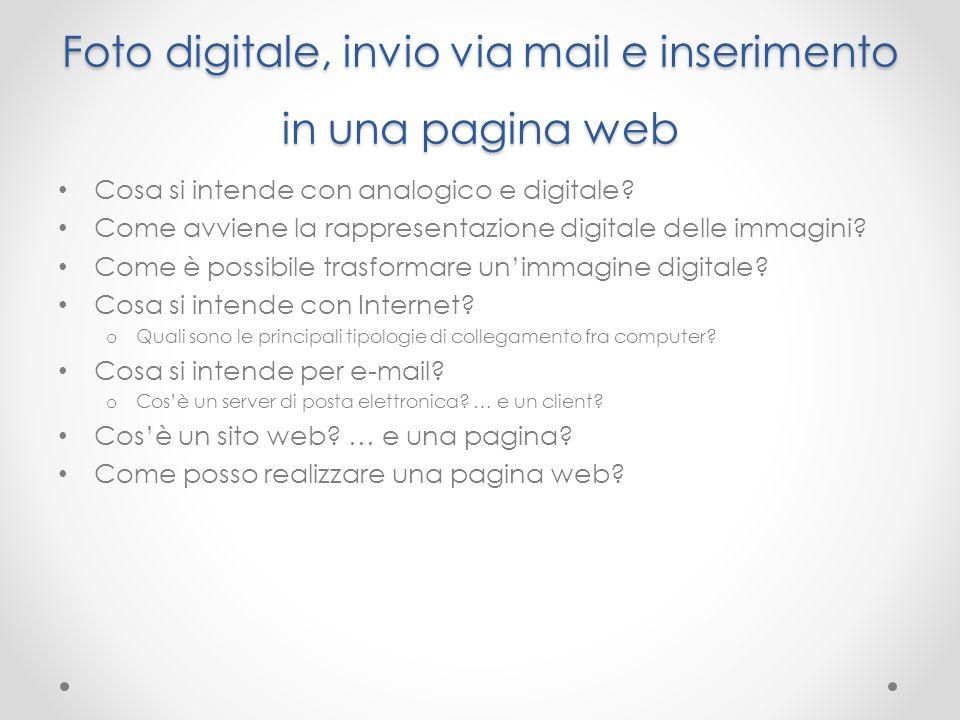 Foto digitale, invio via mail e inserimento in una pagina web Cosa si intende con analogico e digitale? Come avviene la rappresentazione digitale dell