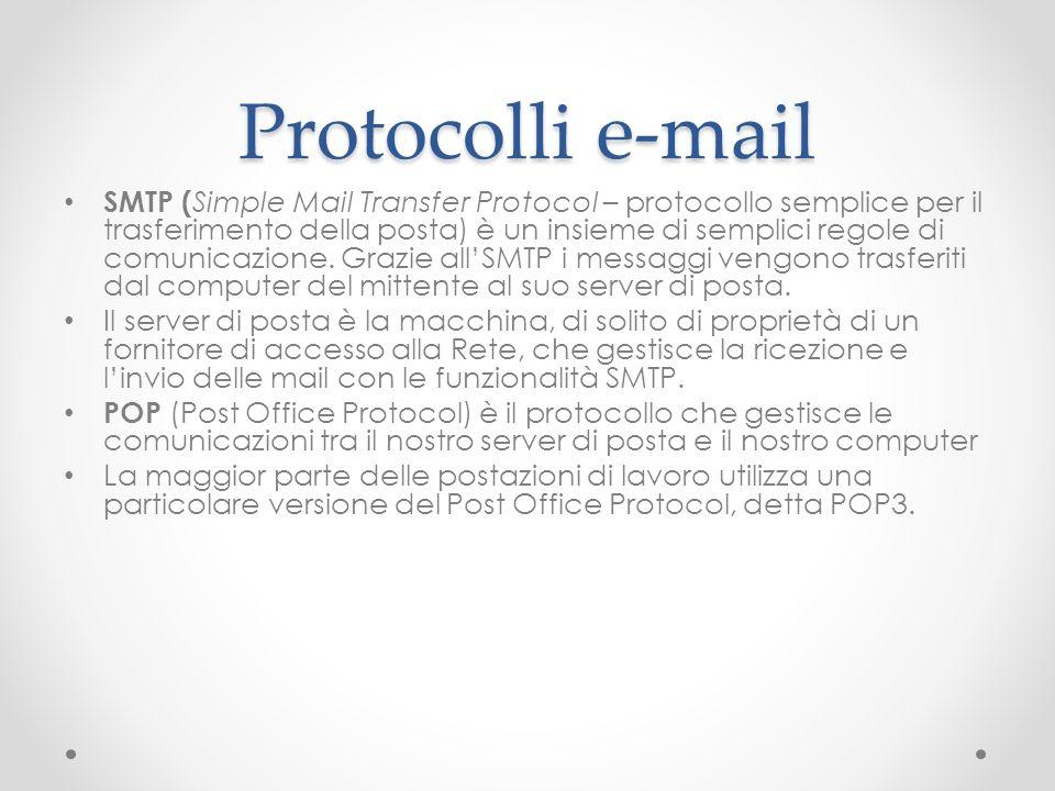 Protocolli e-mail SMTP ( Simple Mail Transfer Protocol – protocollo semplice per il trasferimento della posta) è un insieme di semplici regole di comu