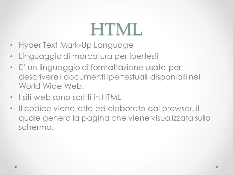 HTML Hyper Text Mark-Up Language Linguaggio di marcatura per ipertesti E un linguaggio di formattazione usato per descrivere i documenti ipertestuali