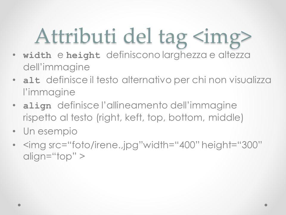 Attributi del tag Attributi del tag width e height definiscono larghezza e altezza dellimmagine alt definisce il testo alternativo per chi non visuali