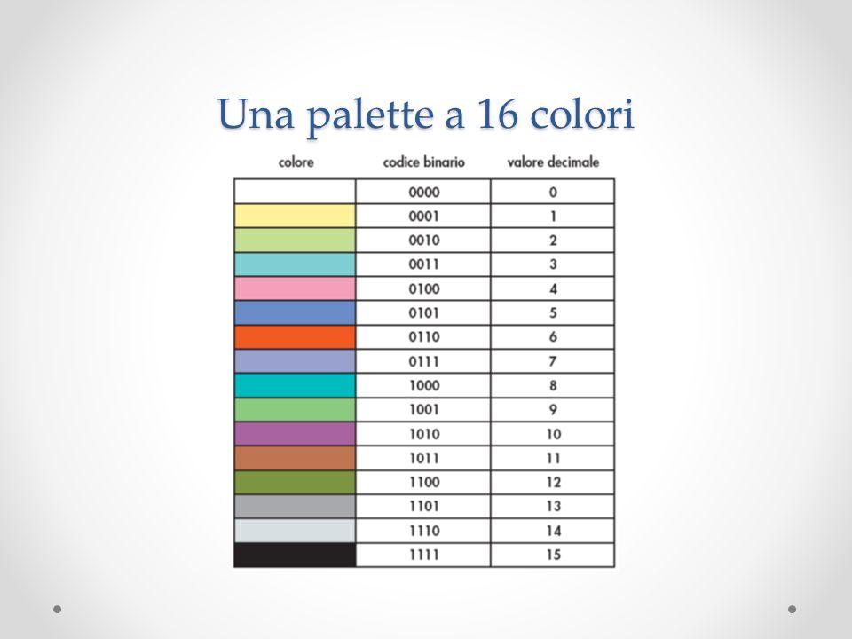 Le immagini: pixel Suddividiamo l immagine in tanti piccoli rettangoli (gli elementi di base dell immagine digitale) Questi rettangoli vengono chiamati pixel (picture element) Per ogni pixel individuiamo un colore dominante.