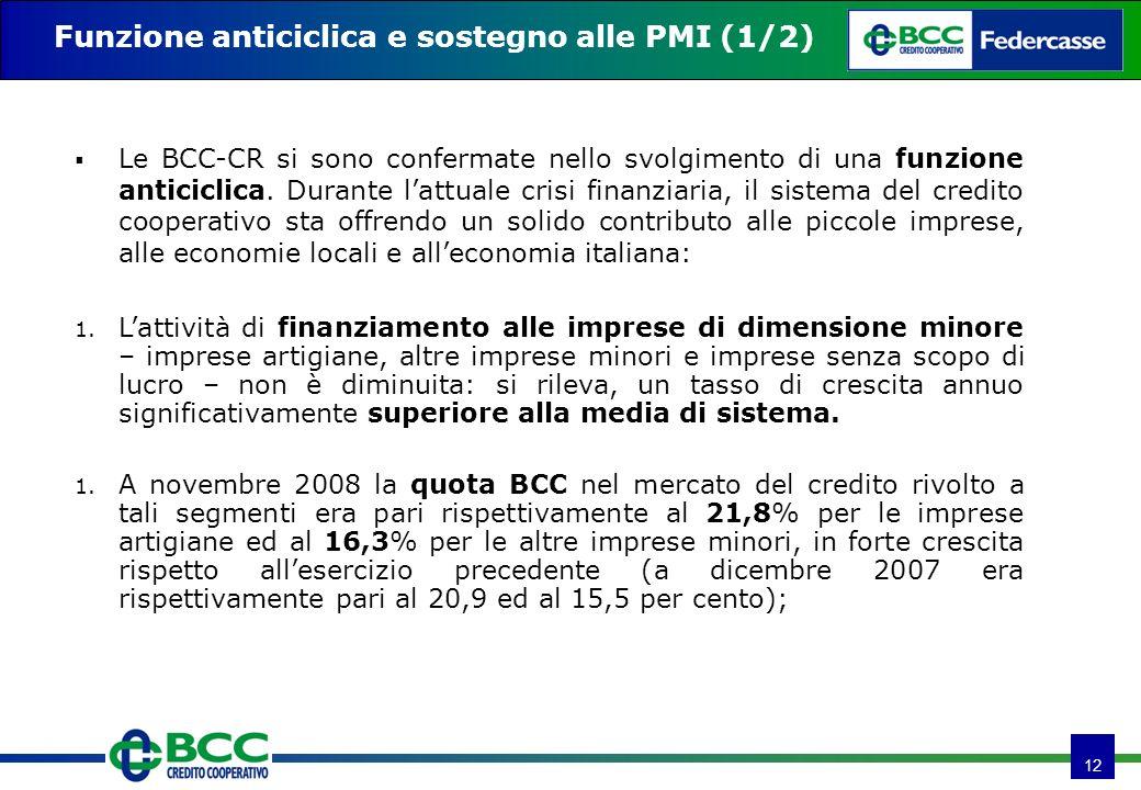 12 Le BCC-CR si sono confermate nello svolgimento di una funzione anticiclica. Durante lattuale crisi finanziaria, il sistema del credito cooperativo