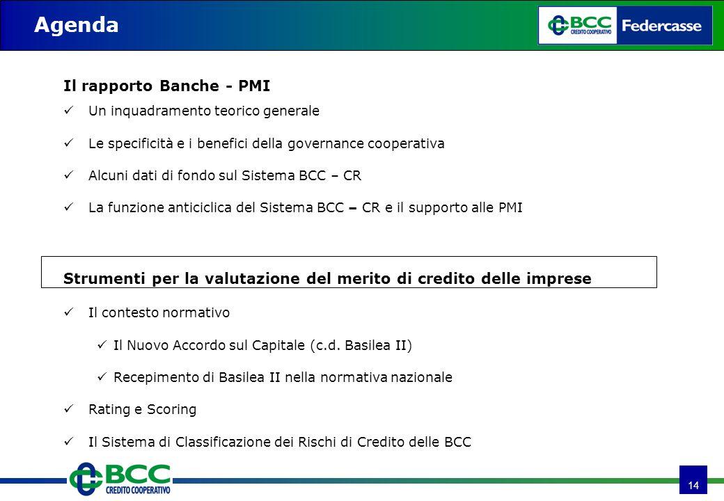 14 Il rapporto Banche - PMI Un inquadramento teorico generale Le specificità e i benefici della governance cooperativa Alcuni dati di fondo sul Sistem