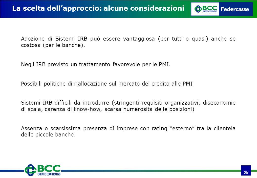 25 La scelta dellapproccio: alcune considerazioni Adozione di Sistemi IRB può essere vantaggiosa (per tutti o quasi) anche se costosa (per le banche).