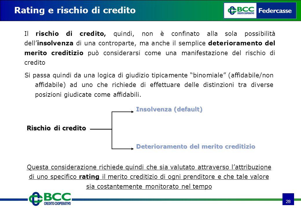 28 Rating e rischio di credito Si passa quindi da una logica di giudizio tipicamente binomiale (affidabile/non affidabile) ad uno che richiede di effe