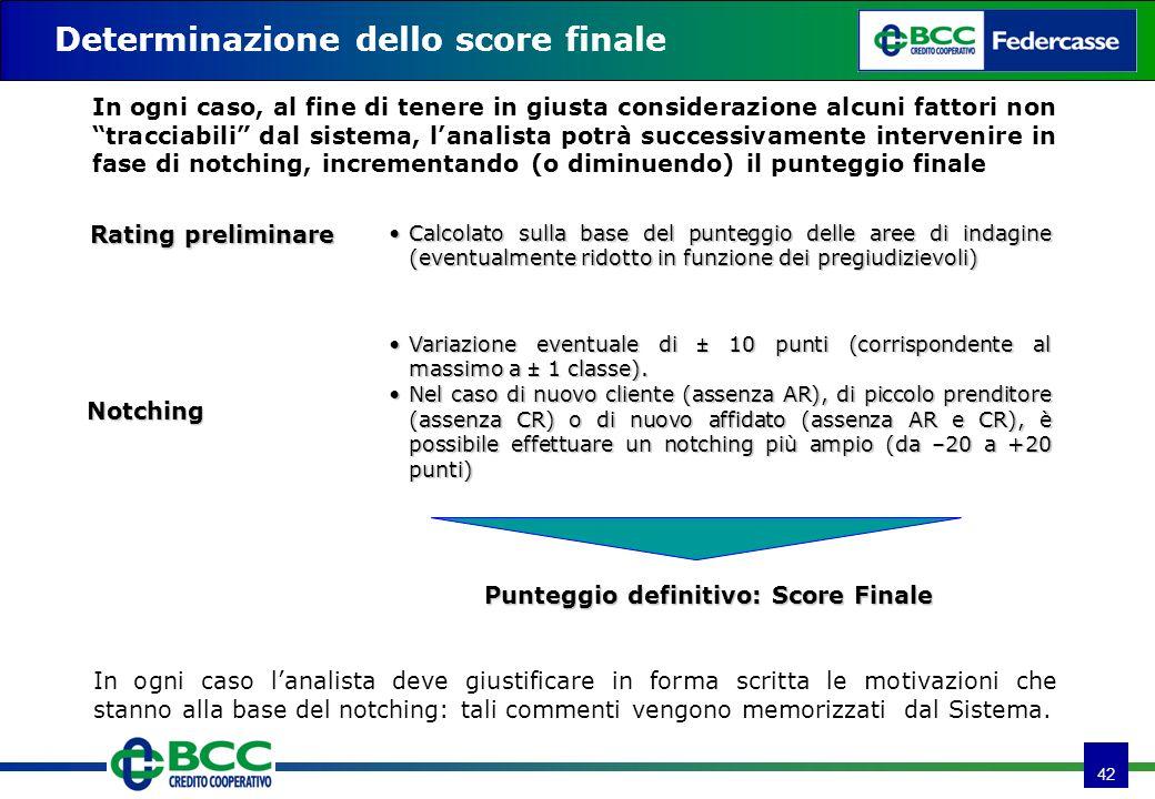 42 Determinazione dello score finale Notching Punteggio definitivo: Score Finale Variazione eventuale di ± 10 punti (corrispondente al massimo a ± 1 c
