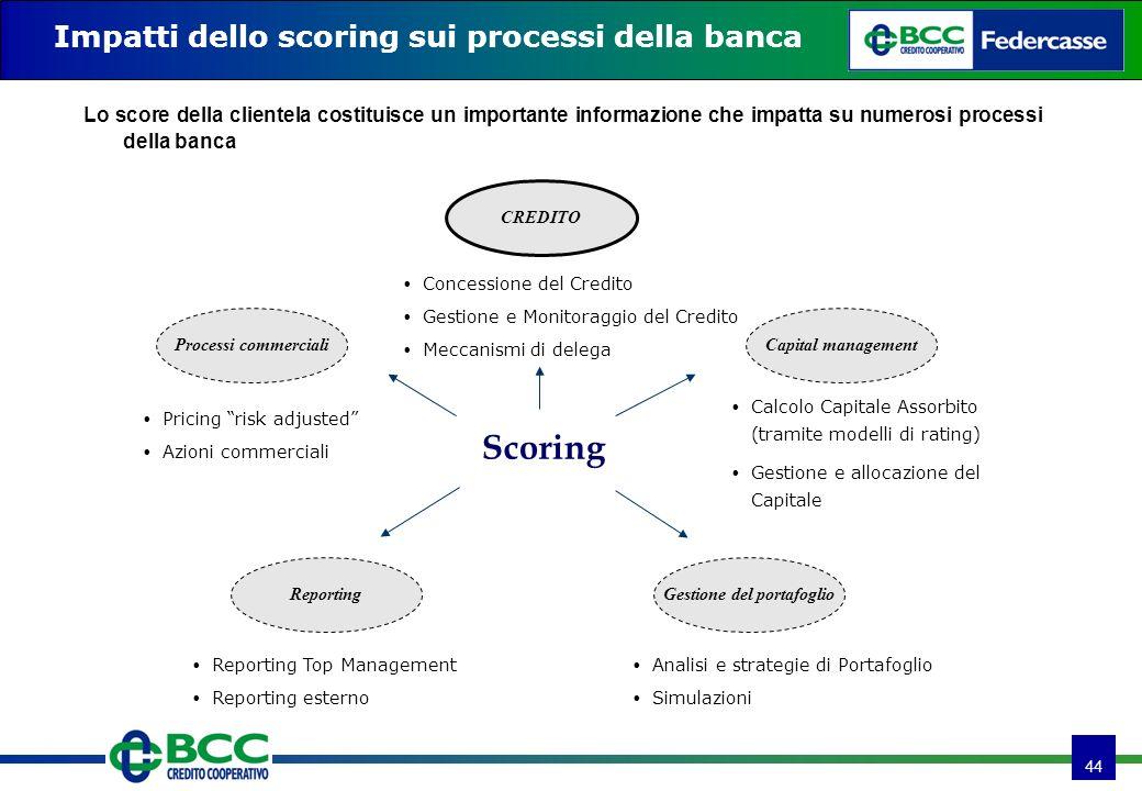 44 Impatti dello scoring sui processi della banca Lo score della clientela costituisce un importante informazione che impatta su numerosi processi del