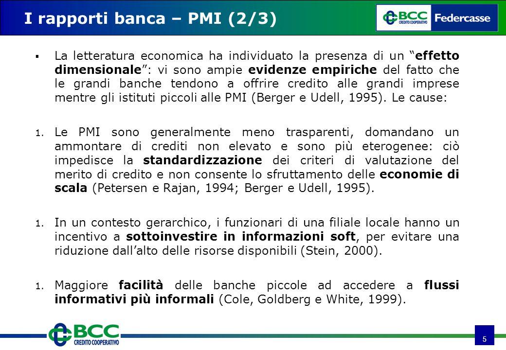 5 I rapporti banca – PMI (2/3) La letteratura economica ha individuato la presenza di un effetto dimensionale: vi sono ampie evidenze empiriche del fa