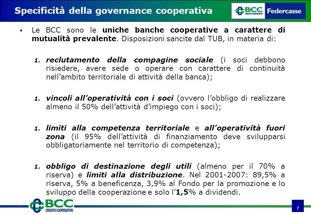 7 Specificità della governance cooperativa Le BCC sono le uniche banche cooperative a carattere di mutualità prevalente. Disposizioni sancite dal TUB,