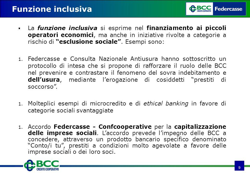 9 Funzione inclusiva La funzione inclusiva si esprime nel finanziamento ai piccoli operatori economici, ma anche in iniziative rivolte a categorie a rischio di esclusione sociale.