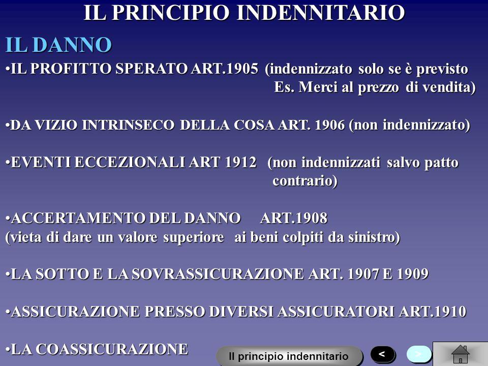 IL PRINCIPIO INDENNITARIO LA DEFINIZIONE DI INTERESSE ART. 1904 Il contratto è nullo se non esiste un interesse economico dellassicurato al risarcimen