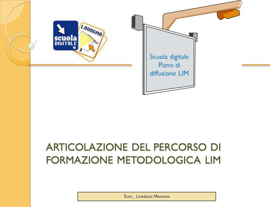 ARTICOLAZIONE DEL PERCORSO DI FORMAZIONE METODOLOGICA LIM Scuola digitale Piano di diffusione LIM Tutor_ Loredana Messineo
