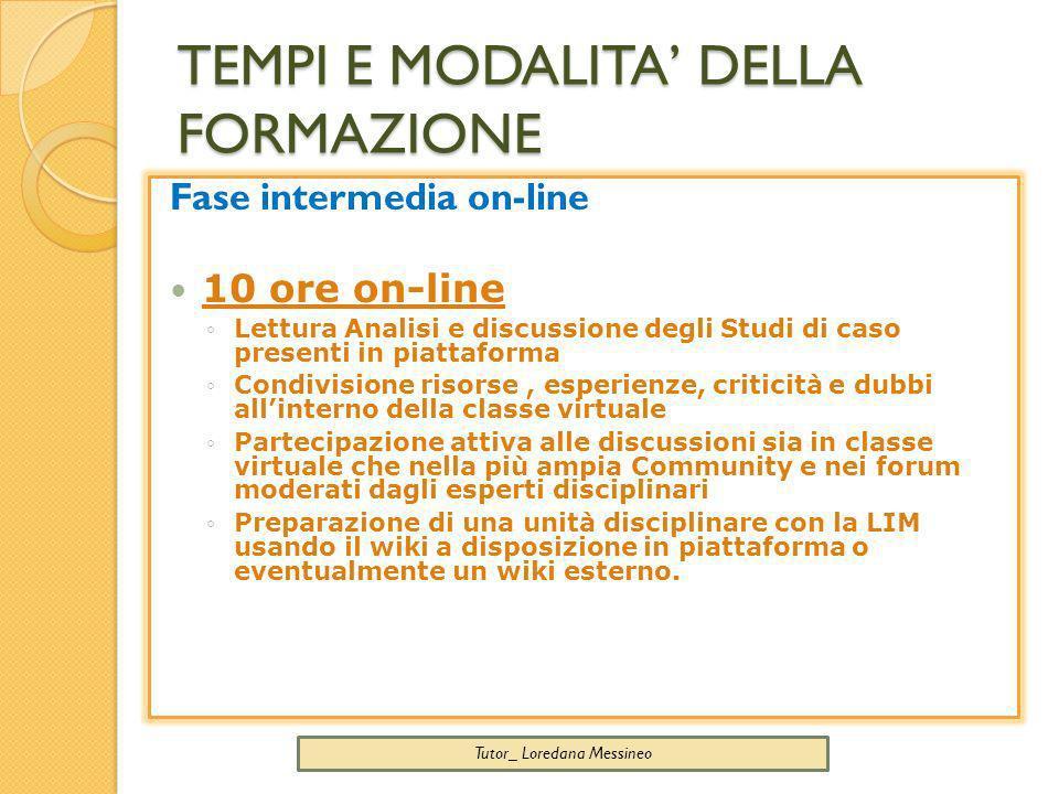TEMPI E MODALITA DELLA FORMAZIONE Tutor_ Loredana Messineo